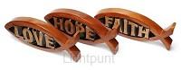 Set 3 vissen faith hope love 18.2x7.4cm