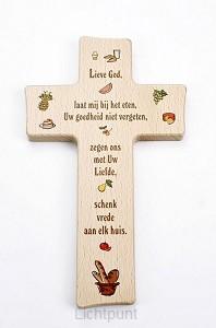 Kruis hout 20cm kinder lieve God laat mi