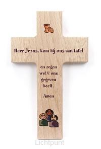 Kruis hout 15cm Heer Jezus kom bij ons a