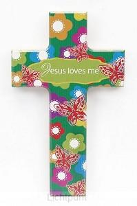 Kruis hout 15cm Jesus loves me