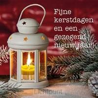 Kerstkaart lantaarn met kaars fijne kers