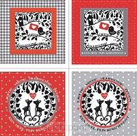 Wenskaarten kerst 4x2 grijs/rood