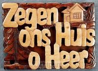 Wandbord 14x10cm zegen ons huis o Heer