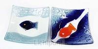 Schaal decoratief glas wi/bl vis 13x13cm