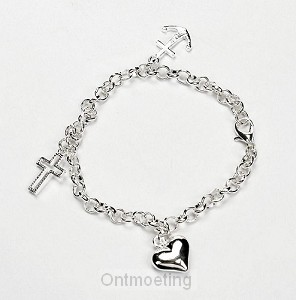 Armband anker hart kruis 20.5cm verstelb