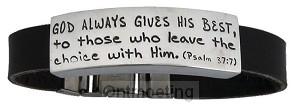 Bracelet - leather, God always gives the