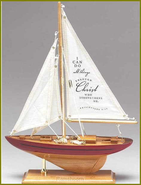 Zeilboot hout 36cm i can do all things