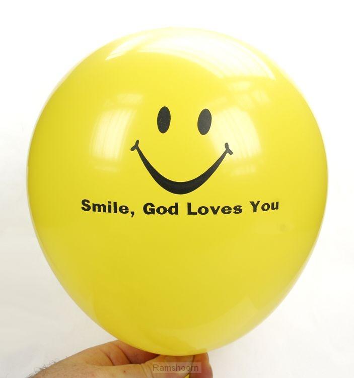 Luchtballon geel smile God loves you