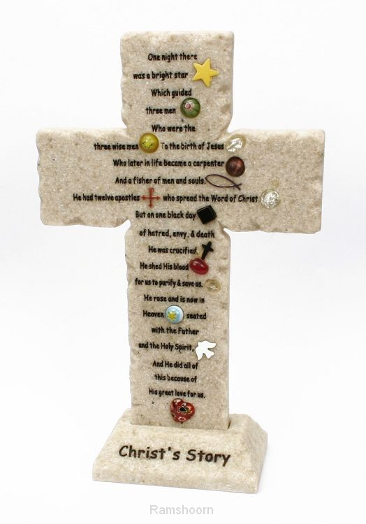 Kruis christ's story 20cm steen
