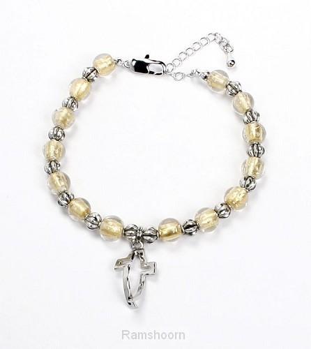 Armband glasparels kruis/vis hanger zkl