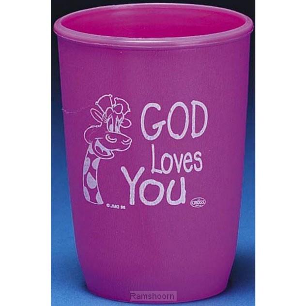Beker plastic god loves you