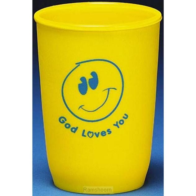 Beker plastic smile god loves you