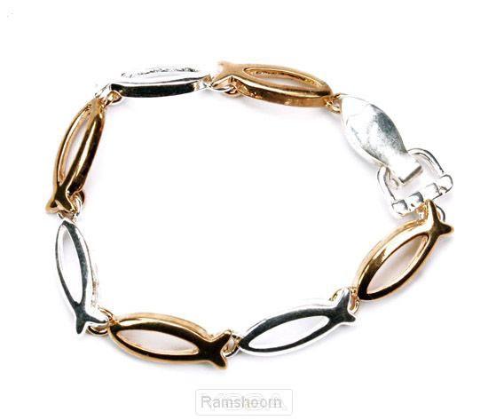 Armband goud/zilver geschakelde visjes