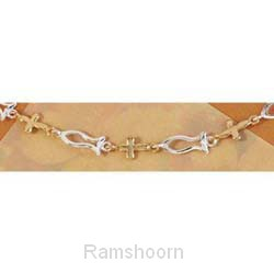 Armband goud/zilver geschakelde kr/vis