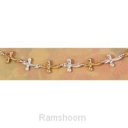 Armband goud/zilver gechakelde kruisjes