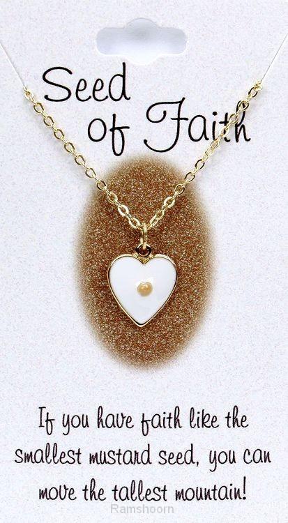 Hanger hart/mosterdzaad goudk kett 45cm