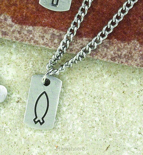 Dog tag with engraved fish
