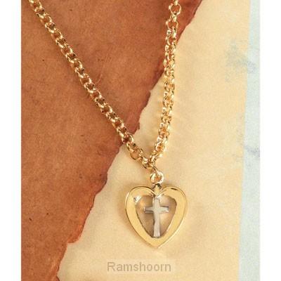 Ketting goudkl hart/kruis hanger