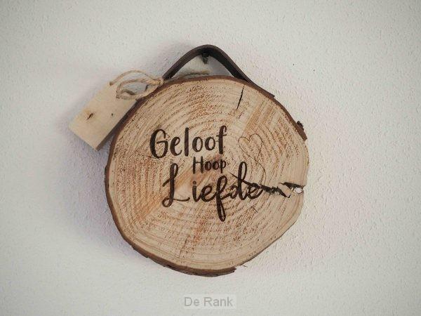 Boomschijf met leren band 'Geloof, Hoop,
