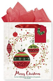 Christmas bag large white ornaments