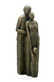 Beeld familie met kind 20cm brons