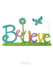 Block on base believe with butterfly