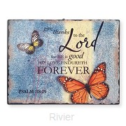 Ceramic wall plaque give thanks