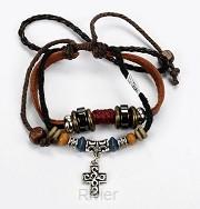 Armband leder met kruis zilver rood