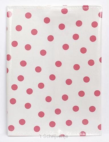 Bijbelhoes white pink dot