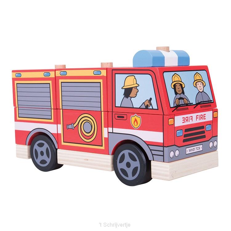 Houten Stapelspel Brandweerwagen