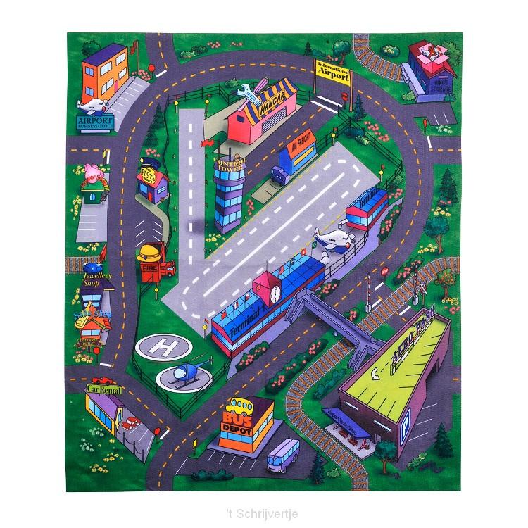 Speelmat met Auto Vliegveld