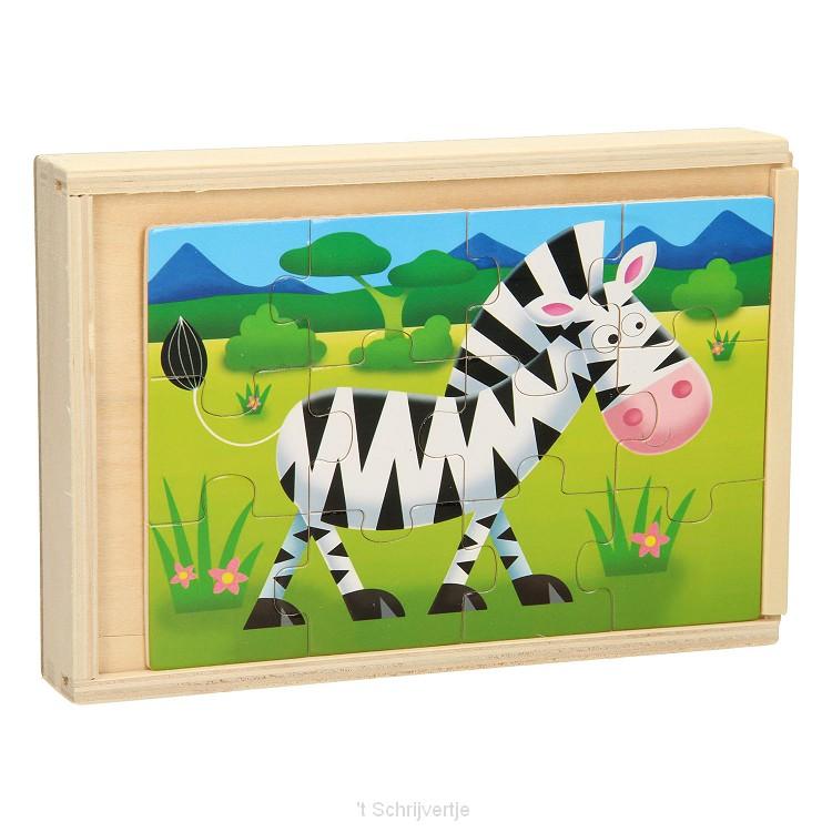 Houten Puzzelbox 4in1 - Wilde Dieren