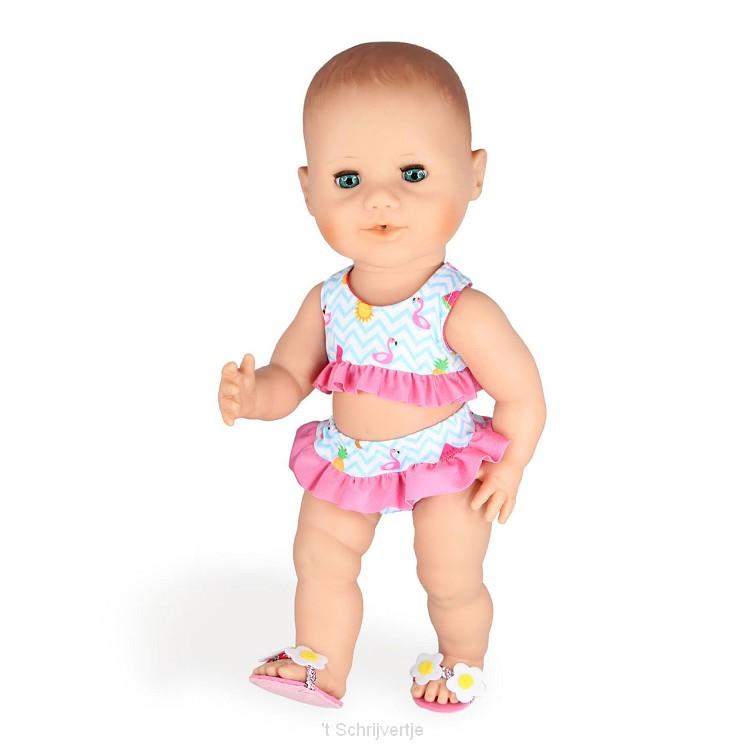 Poppen Bikini met Slippers Flamingo, 28-35 cm