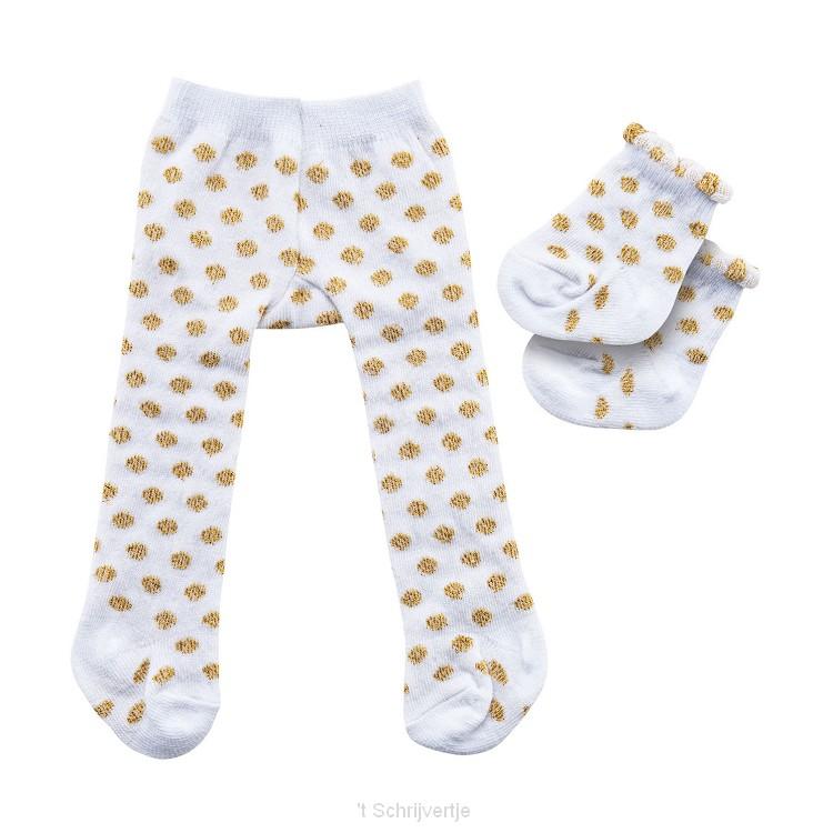 Poppenmaillot met Sokken - Gouden Stippen, 35-45 cm