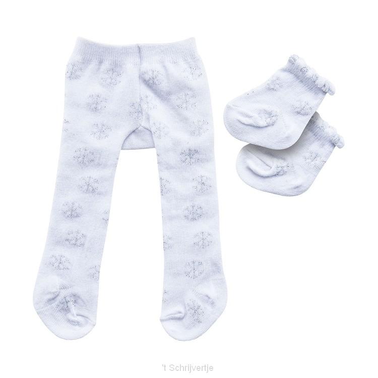 Poppenmaillot met Sokken - Sneeuwvlokken, 35-45 cm