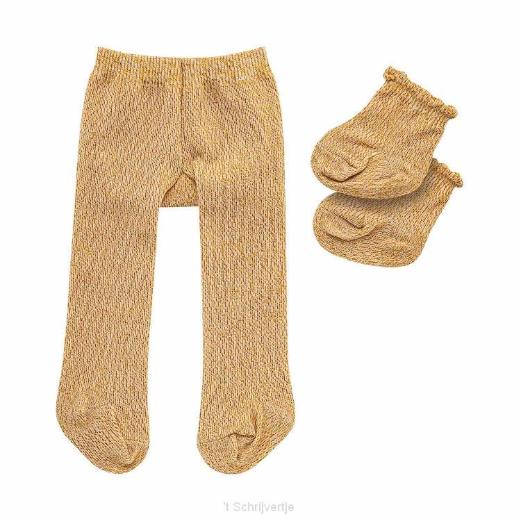 Poppenmaillot met Sokken - Goud, 28-35 cm