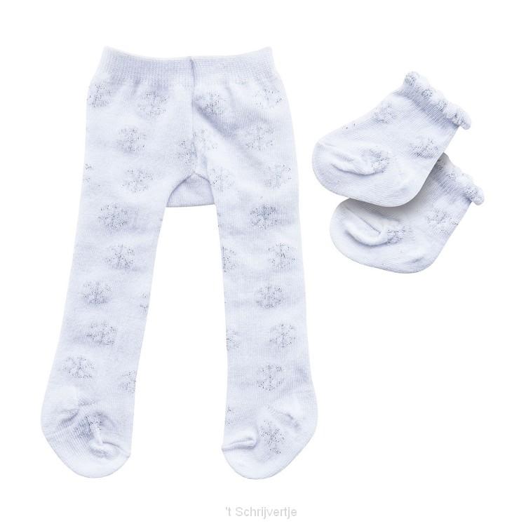 Poppenmaillot met Sokken - Sneeuwvlokken, 28-35 cm