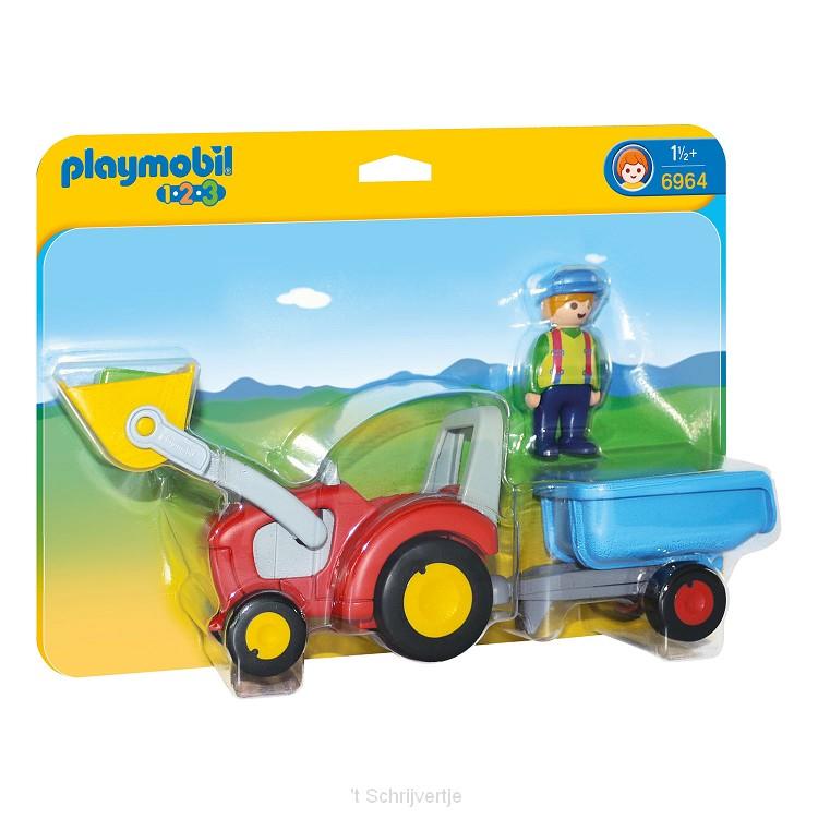 Playmobil 6964 Boer met Tractor en Aanhangwagen