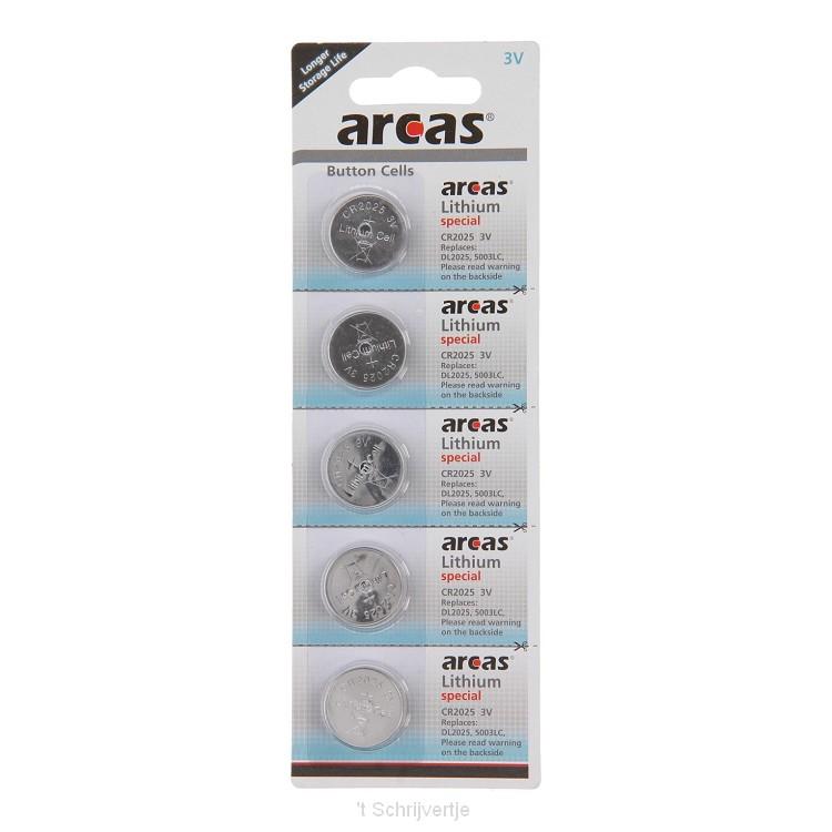 ARCAS Batterij Lithium CR2025 3V, 5st.