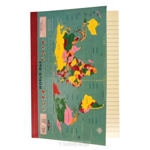 Notebook A5 vintage world map