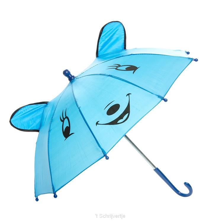 Vrolijke Dieren Paraplu - Blauw, + 50 cm