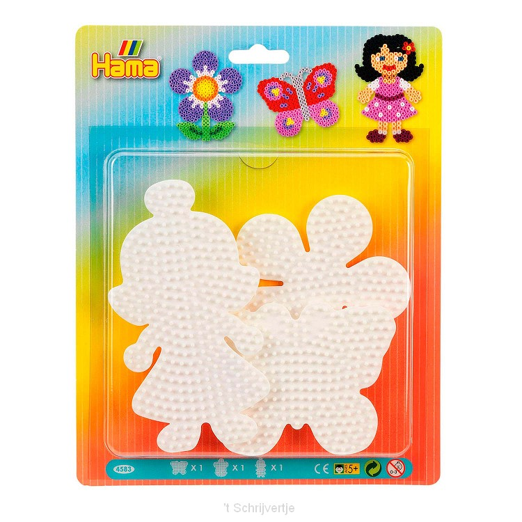 Hama Strijkkralenbordjes - Vlinder, Bloem, Meisje