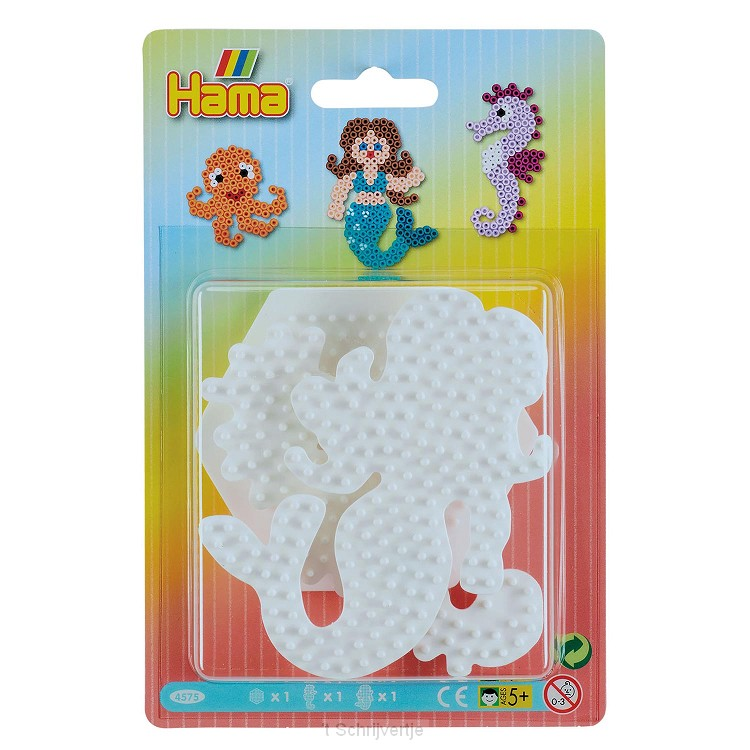 Hama Strijkkralenbordjes - Zeemeermin, Zeepaard, Zeshoek