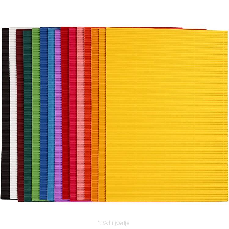 Ribbelkarton Kleur 80gr, 10 Vellen