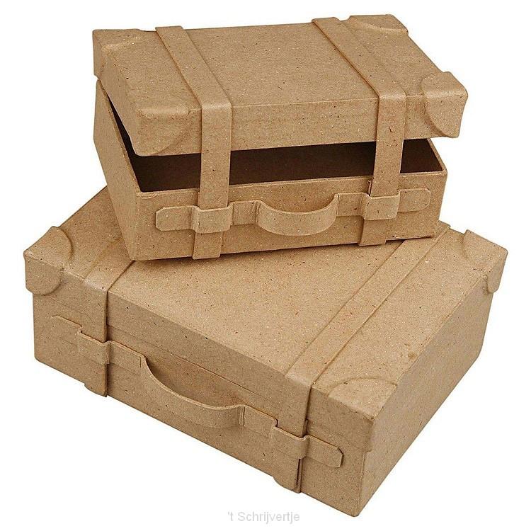 Papier-machT Koffers Handgemaakt, set van 2