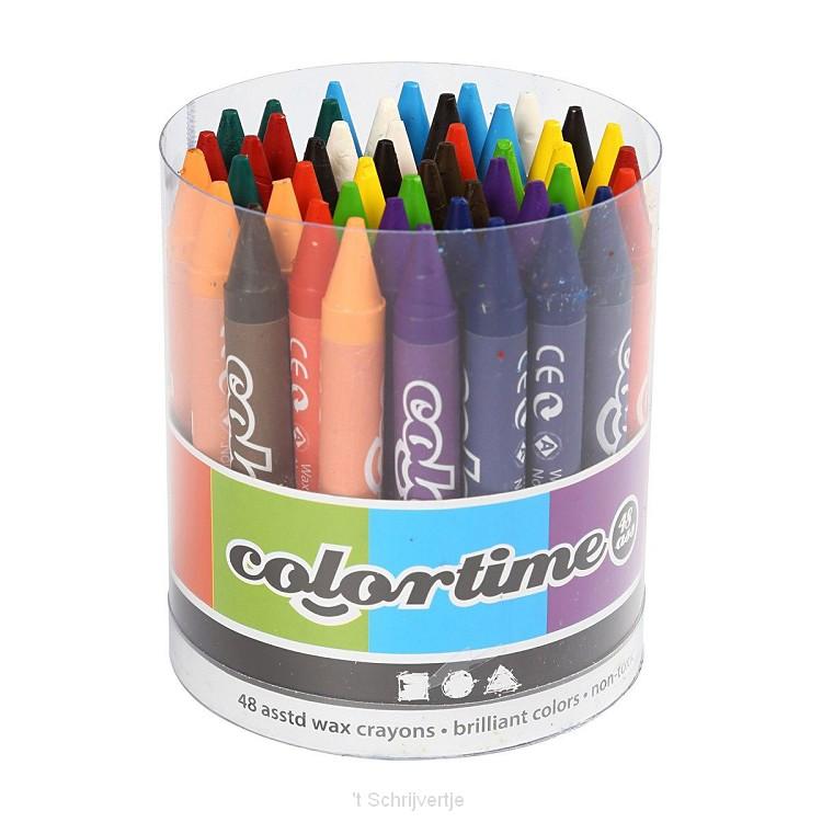Set met 12 Kleuren Kleurkrijt, 48 st.