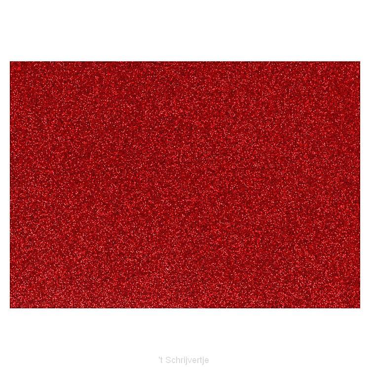 Opstrijkfolie Glitter Rood, A5