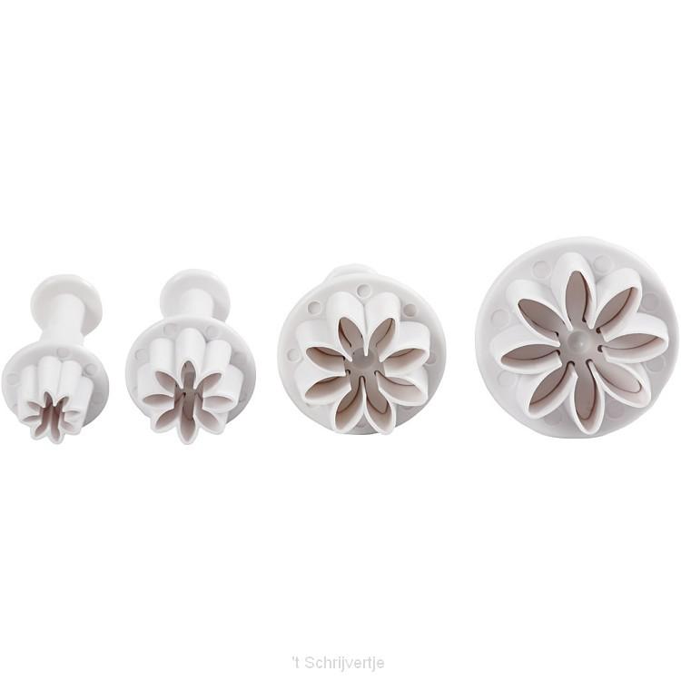 Uitsteekvormen met Stempel Bloem,4st.