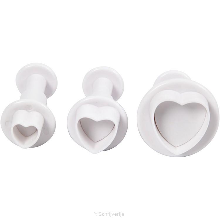 Uitsteekvormen met Stempel Hart, 3st.