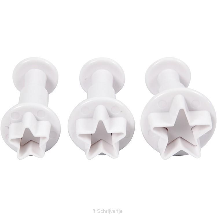 Uitsteekvormen met Stempel Ster, 3st.